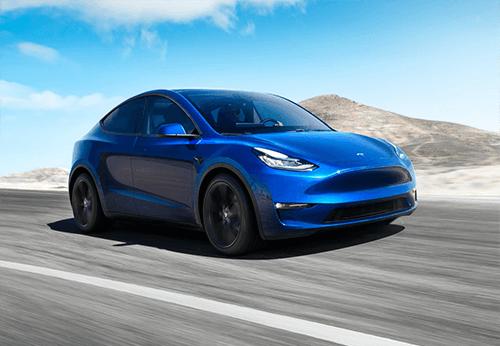 Tesla Model Y blauw